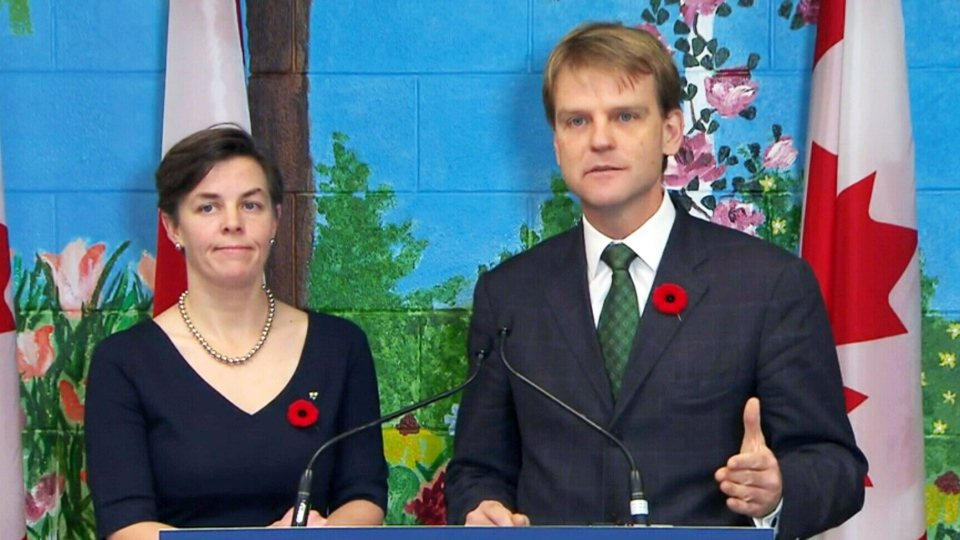 Ministers Chris Alexander and Kellie Leitch announce new measures to protect girls and women from abuse in Toronto, Ont. on Wednesday, Nov. 5, 2014.