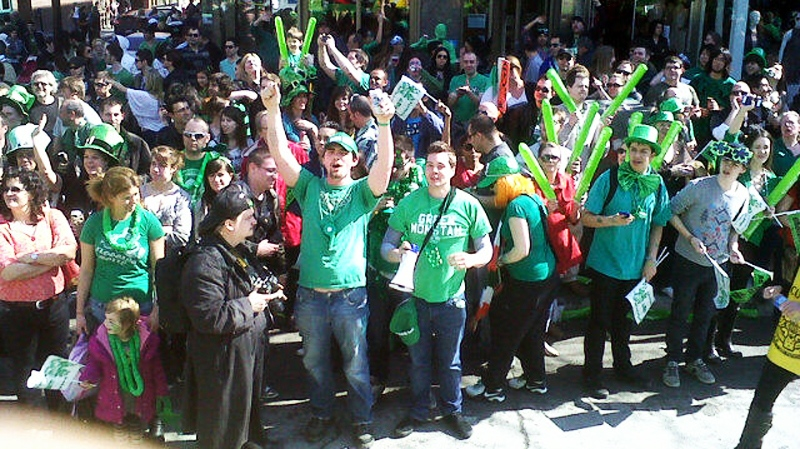 a large crowd celebrated near the st patrick s day parade route sunday