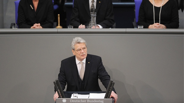 New elected German President Joachim Gauck, delivers a speech at the parliament building Reichstag in Berlin, Germany, Sunday, March 18, 2012. (AP / dapd/Norbert Millauer)