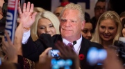 Doug Ford waves to supporters after losing to fellow candidate John Tory on Monday, October 27, 2014. (Darren Calabrese/THE CANADIAN PRESS)