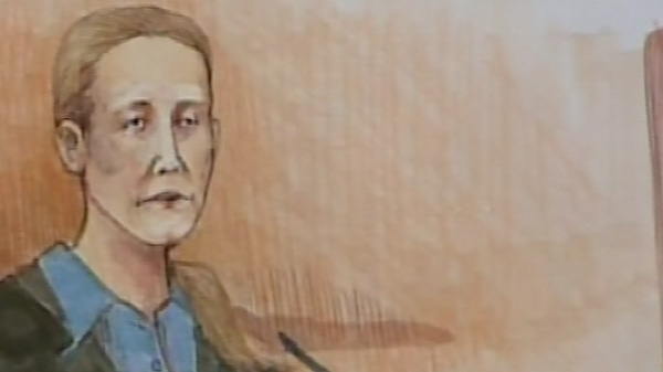 Allyson McConnell is seen testifying in this court sketch.
