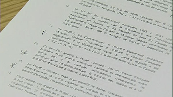 A copy of the written document where the RCMP refused to cooperate with the Charbonneau Commission.