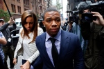 Ray Rice arrives with his wife Janay Palmer for an appeal hearing of his indefinite suspension from the NFL, in New York, on Wednesday, Nov. 5, 2014. (AP / Jason DeCrow)