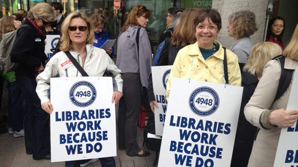 Striking library workers picketed outside the Toronto Reference Library on Monday, March 19, 2012.