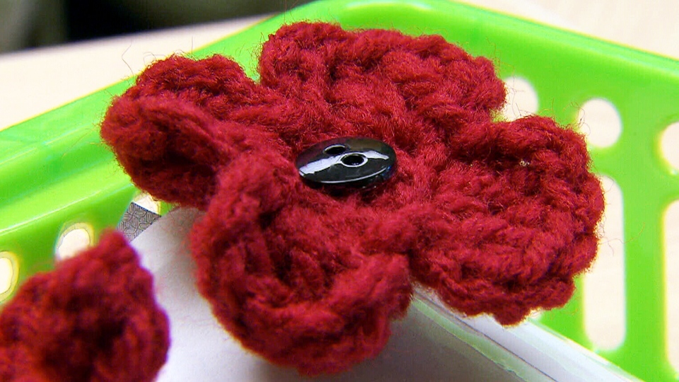 A crocheted poppy made by students at Winnipeg's Westgrove School.