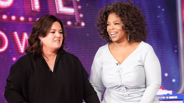 Oprah Winfrey with host Rosie O'Donnell during the debut of 'The Rosie Show,' in Chicago in Oct. 10, 2011. (Harpo, Inc. / George Burns)