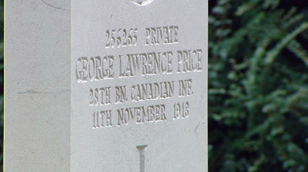 The tombstone of Private George Lawrence Price at the St. Symphorien Military Cemetery in Mons, Belgium (Daniele Hamamdjian)