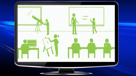 A TV shows an image from the B.C. government's ad campaign during the teachers' dispute. March 20, 2012. (CTV)