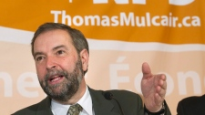 NDP leadership candidate Thomas Mulcair speaks during a press conference in Toronto on Tuesday, March 20, 2012. (Nathan Denette / THE CANADIAN PRESS)