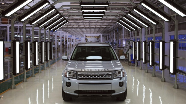 A Jaguar Land Rover car sits at an assembly plant in Pune, India, Friday, May 27, 2011. (AP Photo/Rafiq Maqbool)