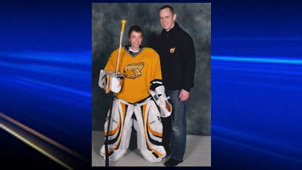 Sharples is still involved in hockey and now coaches his son Grayson's hockey team.