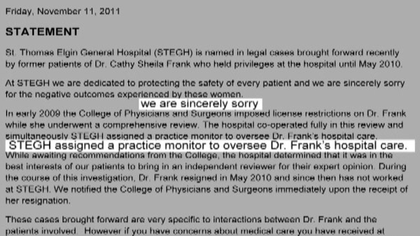 A statement from St. Thomas Elgin General Hospital says the facility is 'sorry' for what the women experienced.