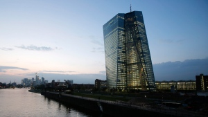 The headquarters of the European Central Bank in Frankfurt, Germany. Expectations of ECB stimulus sparked European markets Monday. (AP / Michael Probst)