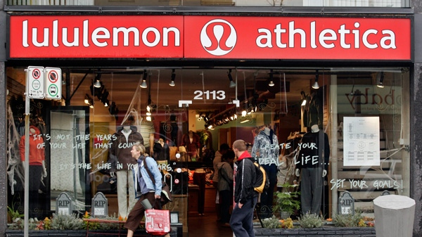 A woman leaves the Kitsilano Lululemon store in Vancouver, Thursday, October 18, 2007. (Richard Lam / THE CANADIAN PRESS)