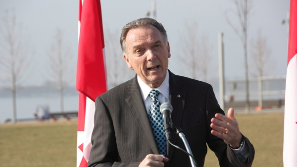 Environment Minister Peter Kent makes a point at an announcement at the Toronto waterfront on Thursday, March 22, 2011. (Colin Perkel / THE CANADIAN PRESS)