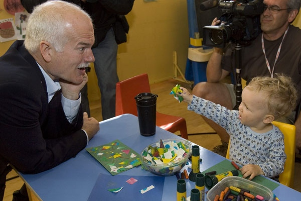 NDP Leader Jack Layton visits children at the East End Children's Centre during a campaign stop in Toronto on Wednesday, Sept. 17, 2008. (Andrew Vaughan / THE CANADIAN PRESS)