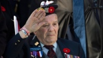 Juno Beach veteran Gerry MacDonald salutes as he attends Remembrance Day ceremonies at the Grand Parade in Halifax on Tuesday, November 11, 2014. (Andrew Vaughan / THE CANADIAN PRESS)