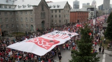Thousands of students march through the streets of downtown in a massive protest against tuition fee hikes Thursday, March 22, 2012 in Montreal.THE CANADIAN PRESS/Ryan Remiorz