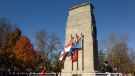 Hundreds gathered to mark Remembrance Day at the Victoria Park cenotaph in London, Ont. on Tuesday, Nov. 11, 2014. (Nick Paparella / CTV London)