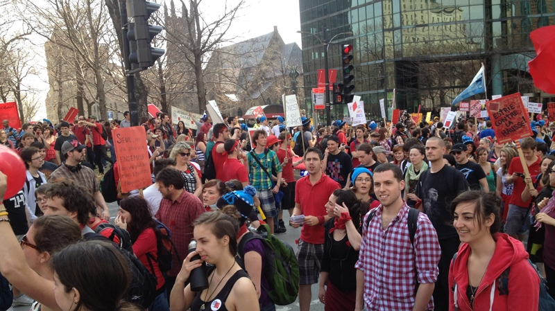 Tens of thousands of protesters left from Place du Canada just prior to 2 p.m.