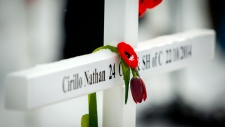 Cross bearing the name of Cpl. Nathan Cirillo