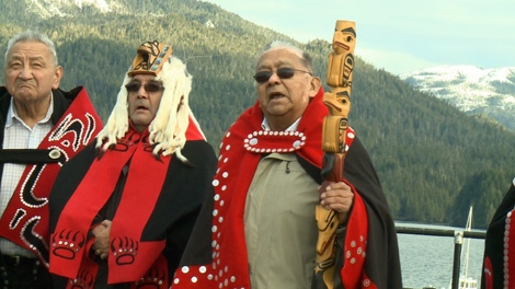 Coastal Hereditary Chiefs at 'No to Tankers' rally against the Northern Gateway pipeline in Prince Rupert on February 4, 2012 (CTV First Story).