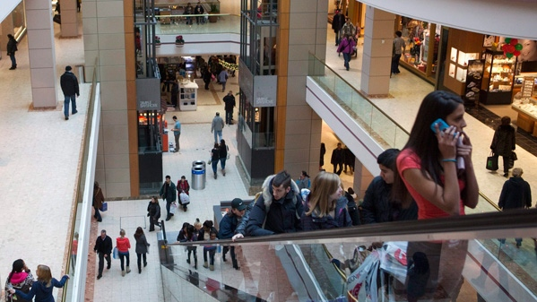 Shoppers are seen in a mall in Ottawa on Tuesday, December 21, 2010. ( Pawel Dwulit / THE CANADIAN PRESS)