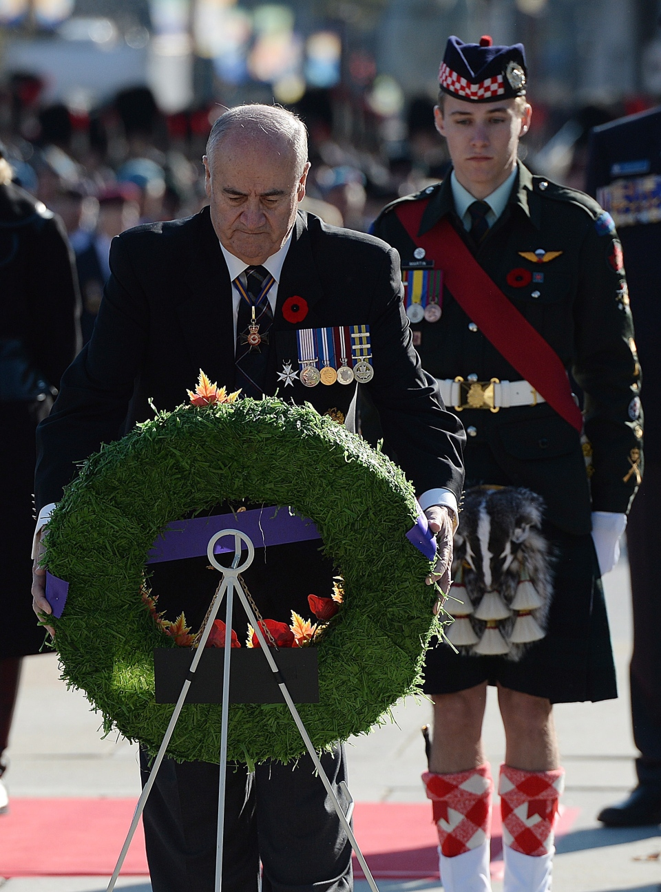 Minister of Veterans Affairs Julian Fantino places a wreath during Remembrance Day ceremonies at the National War Memorial in Ottawa on Tuesday, November 11, 2014. (THE CANADIAN PRESS/Sean Kilpatrick)