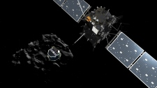 Philae separating from Rosetta, descending to 67P