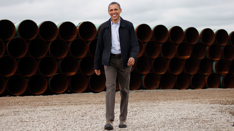 U.S. President Barack Obama at the TransCanada Stillwater Pipe Yard in Cushing, Okla., Thursday, March, 22, 2012. (AP / Pablo Martinez Monsivais)