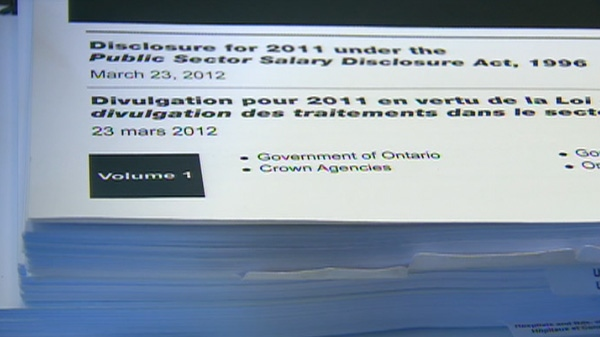 Ontario released its sunshine list of public sector employees who make more than $100,000 a year on Friday, March 23, 2012.