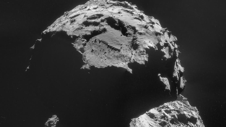 The Agilkia landing site is seen on this image of Comet 67P/Churyumov-Gerasimenko, taken with Rosetta's navigation camera on Thursday, Nov. 6, 2014, just days before its lander Philae makes its historic descent to the surface. (ESA / Rosetta / NAVCAM)