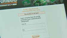 Tablet shows error message when voter trying to cast online ballot at NDP leadership convention in Toronto on Saturday, March 24, 2012.
