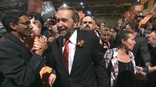 Thomas Mulclair celebrates after winning the NDP leadership race.