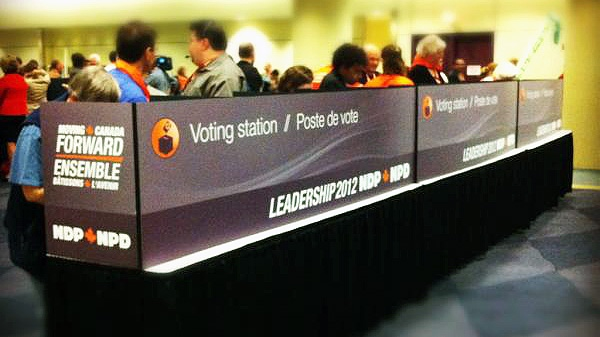 NDP delegates cast their second votes during the NDP leadership convention in Toronto on Saturday, March 24, 2012. (Phil Hahn / CTVNews.ca)