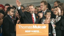 Thomas Mulcair wins the NDP leadership race in Toronto Saturday, March 24, 2012.