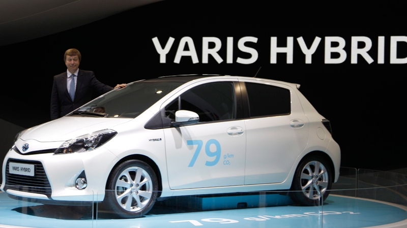 A Toyota Yaris Hybrid is on display during the press preview days at the 82nd Geneva International Motor Show in Geneva, Switzerland. (AP / Frank Augstein)