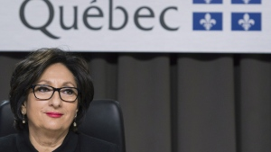 Justice France Charbonneau delivers her remarks as she sits on the closing day of the Charbonneau Commission, in Montreal, Friday, Nov. 14, 2014. (Graham Hughes / THE CANADIAN PRESS)