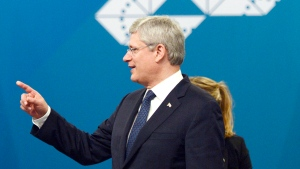 Canadian Prime Minister Stephen Harper attends the G20 Summit in Brisbane, Australia Saturday, Nov. 15, 2014. (Adrian Wyld / THE CANADIAN PRESS)