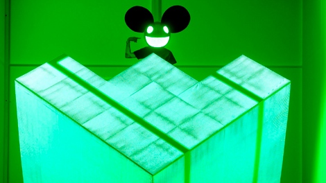 Deadmau5 performs at the 54th annual Grammy Awards on Sunday, Feb. 12, 2012 in Los Angeles. (AP / Chris Pizzello)