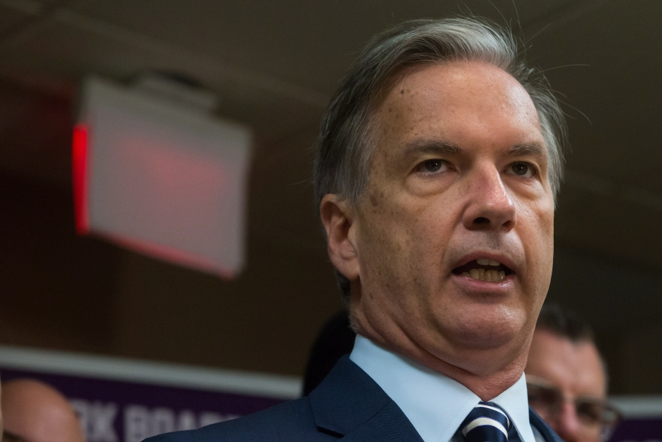Vancouver mayoral candidate, journalist Kirk LaPointe, of the Non-Partisan Association party, speaks during a news conference in Vancouver, B.C., on Thursday November 13, 2014. (Darryl Dyck / THE CANADIAN PRESS)