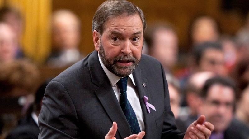 NDP Leader Thomas Mulcair rises during question period in the House of Commons in Ottawa, Monday, March 26, 2012. (Adrian Wyld / THE CANADIAN PRESS)