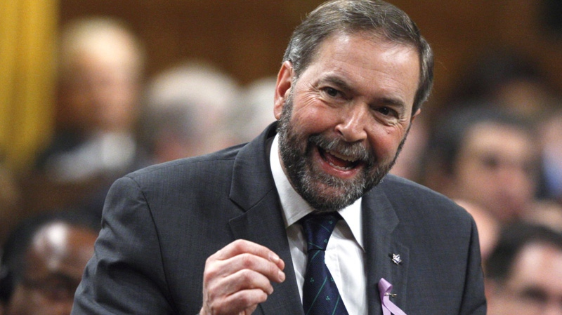 Newly-elected NDP Leader Thomas Mulcair rises during Question Period in the House of Commons in Ottawa, Monday, March 26, 2012. (Adrian Wyld / THE CANADIAN PRESS)