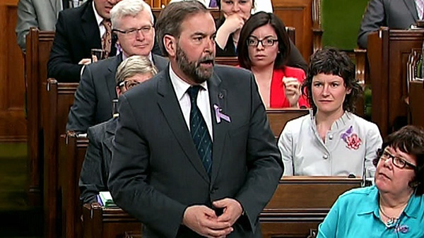 Newly-elected NDP Leader Thomas Mulcair rises during question period in the House of Commons in Ottawa, Monday, March 26, 2012.