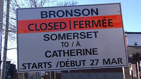 Bronson Avenue will be closed for construction between Somerset and Catherine Street staring 9 a.m. Tuesday, March 27, 2012.