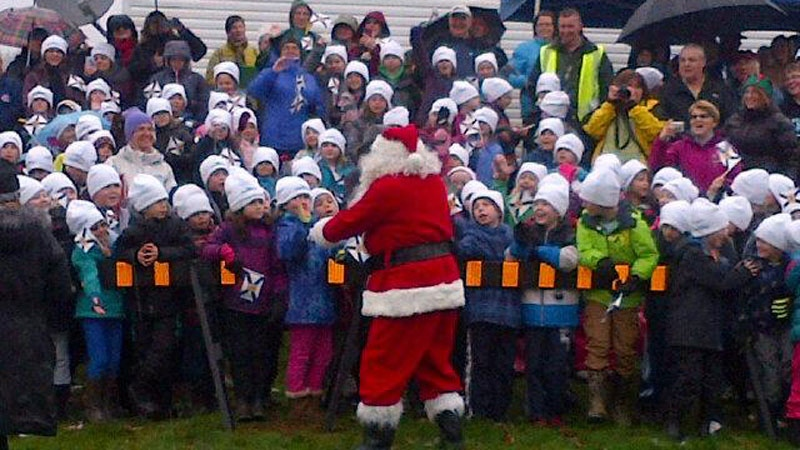 Santa joined hundreds of students and community members in Antigonish County Monday morning as Nova Scotia's tree for Boston was cut down and wrapped before starting its journey across the border. (CTV Atlantic)