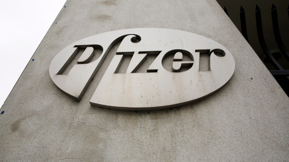The logo on the exterior of a former Pfizer factory in the Brooklyn borough of New York is pictured on May 4, 2014. (AP / Mark Lennihan)