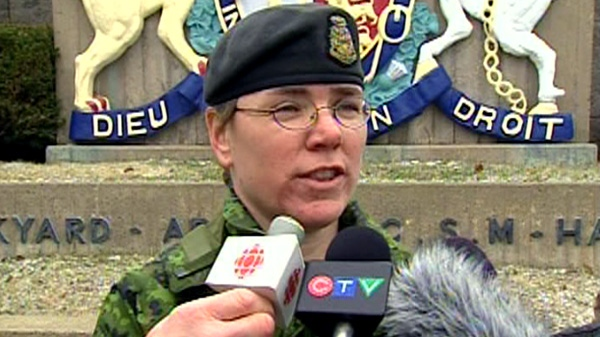 Maj. Paule Poulin from Joint Task Force Atlantic updates media on search-and-rescue efforts off the coast of Nova Scotia, Tuesday, March 27, 2012.