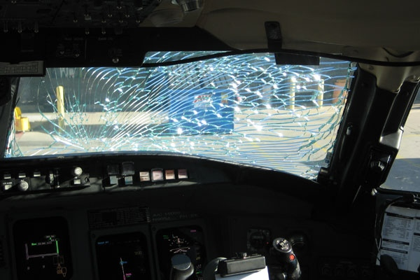 Pilots were able to safely landed a US Airways plane after the windshield cracked mid-flight on Friday, Sept. 19, 2008.