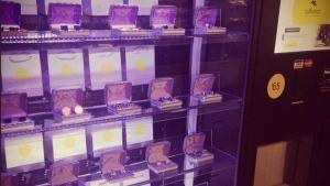 The Cuffwear cufflink vending machine is shown at Cumberland Terrace Mall in Toronto's Yorkville neighbourhood om Nov. 11, 2014. (Twitter/Elamin Abdelmahmoud)